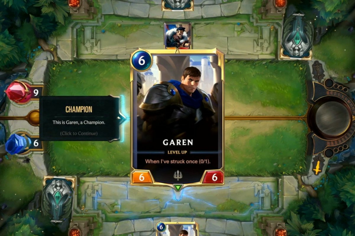 Legends of Runeterra, eine Karte mit Champions, Garen aus League of Legends