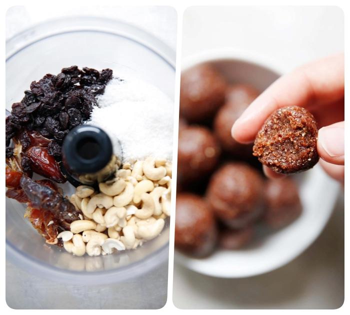 rezepte mit datteln, eiweißkugeln mit nüssen und kokos, proteinbällchen ideen