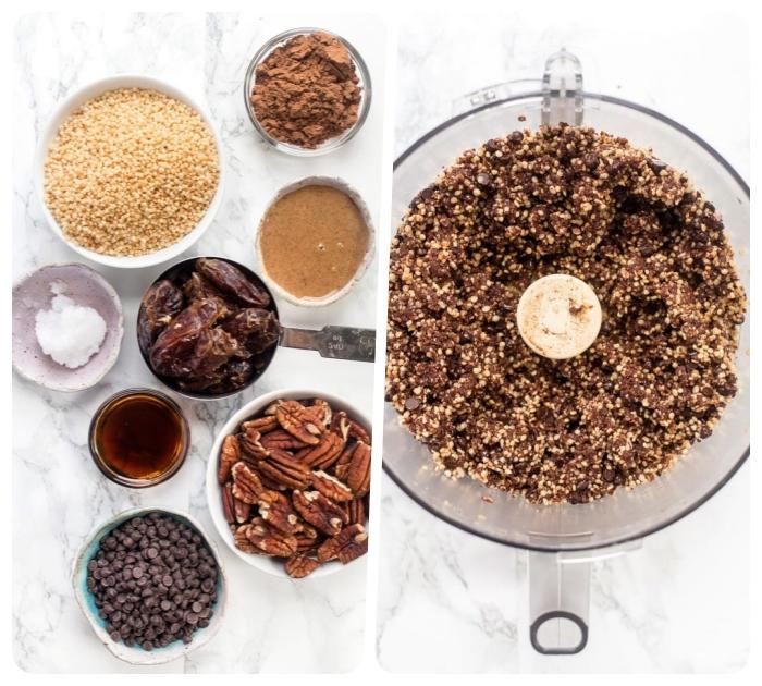 rezepte mit datteln, gesund essen, bliss balls zubereiten, eiweikugeln mit pekannüssen und kokos
