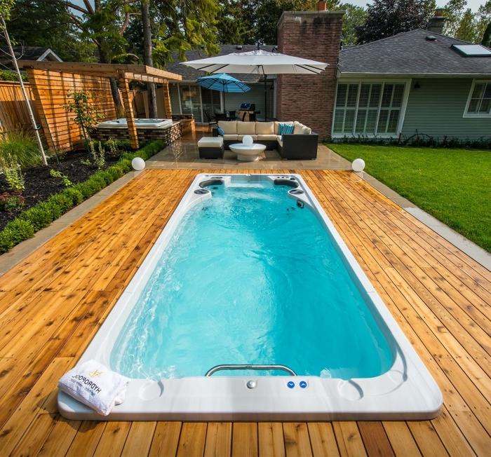 swim spa pool kaufen, gartengestaltung ideen, kleines schwimmbad im außenbereich, home spa