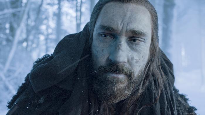 Joseph Mawle in einer szene aus der serie game of thrones, ein mann mit bart, ein wlad mit schnee, der herr der ringe