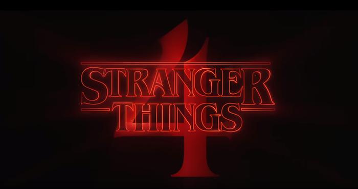 der rote logo von der netflix serie stranger things, ein teaser trailer zu der vierten staffel