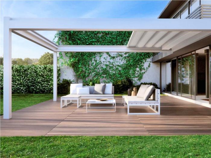 terrassenüberdachung aus stahl, moderne gartenmäbel, veranda überdachen, gartengestaltunsideen