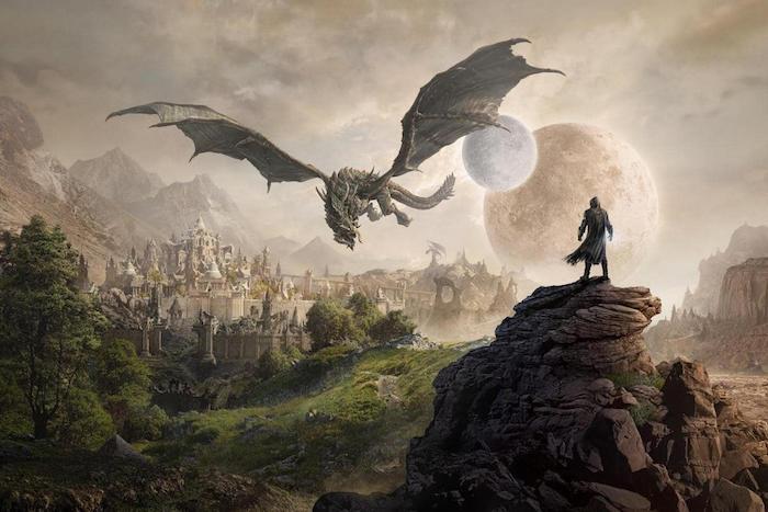 ein mann und ein großer fliegender drache, game of thrones, das prequel house of the dragon, himmel mit zwei planeten, ein wald mit grünen blättern