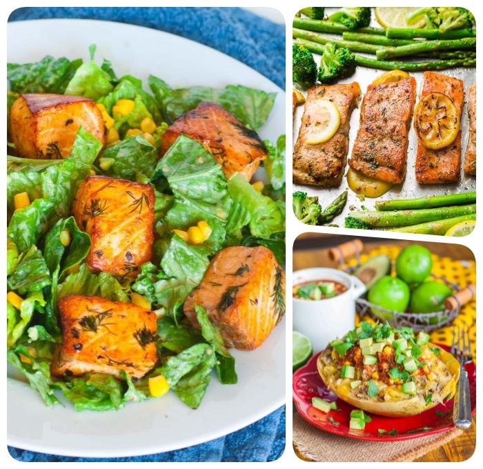 was ist keto diät, lachs mit grünem salat und mais, mittagessen ideen, gesund