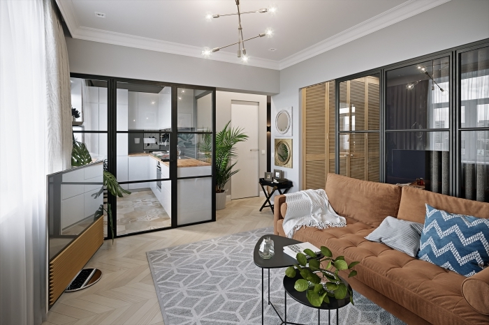 wohn und esszimmer optisch trennen, designer sofa, kleine küche, wohnzimmerdeko ideen