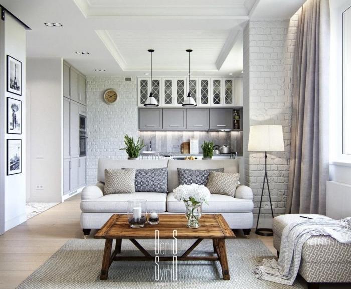 wohn und esszimmer optisch trennen, einrichtung in weiß, einrichten in landhausstil