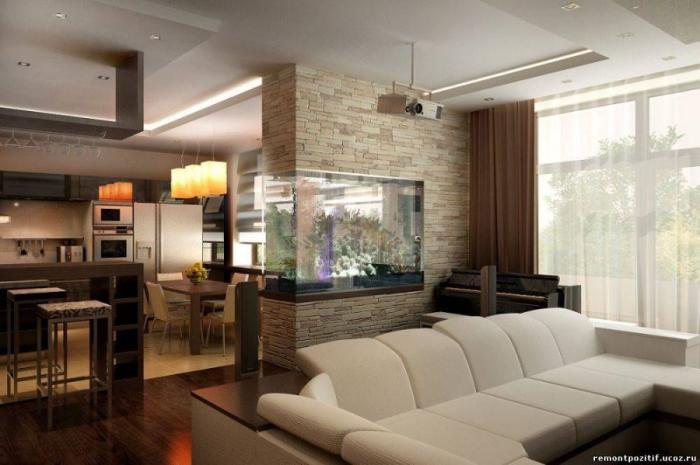 woh n und eszimmer optisch trennen, wohnung einrichten, moderne einrichtung in braun und beige