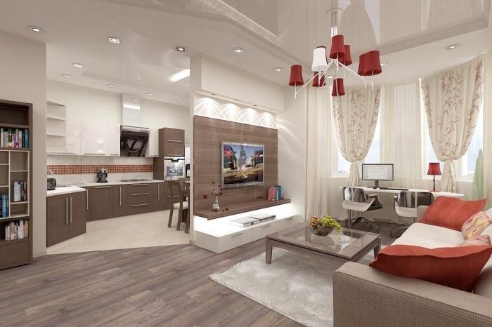 wohnzimmer einrichten farben, moderne wohnungeinrichtung in braun und weiß, fernsehwand mit beleuchtung