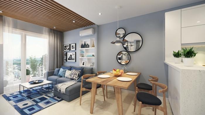 wohnzimmer einrichten beispiele, einrcihtung in grau und weiß, esstisch aus ecktholz