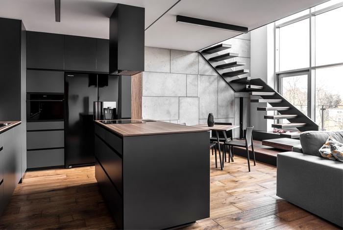 wohnzimmer einrichten beispiele, kücheneinrichtung in schwarz und grau, boden aus holz