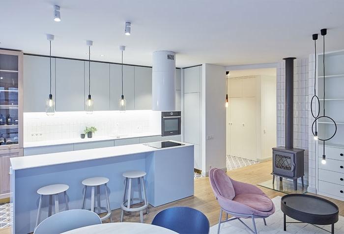 wohnzimmer einrichten beispiele, einrichtung in weiß, kücheneinrichtung ideen