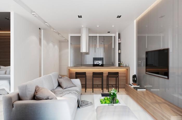 fernsehwand mit beleuchtung, wohnzimmer einrichten beispiele, kleiner raum ideen