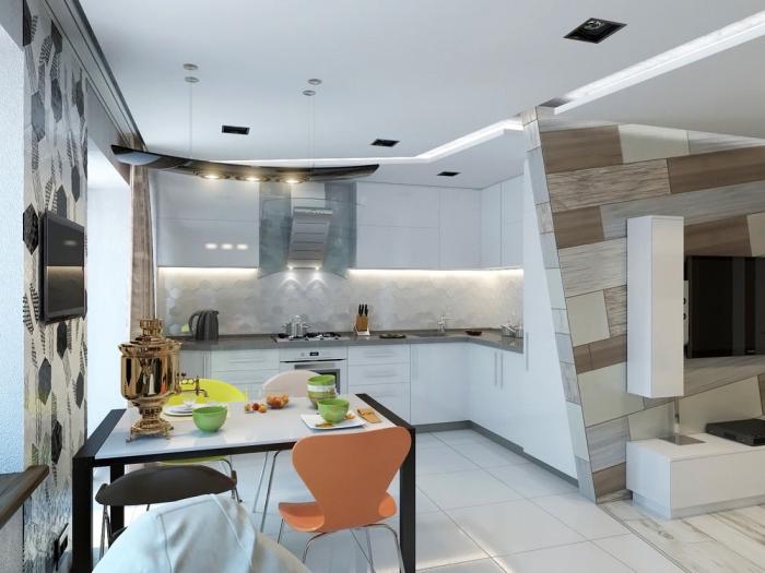 kleiner raum gestalten, kücheneinrichtung in weiß, wohnzimmer einrichten farben, küchenschränke mit led beleuchtung