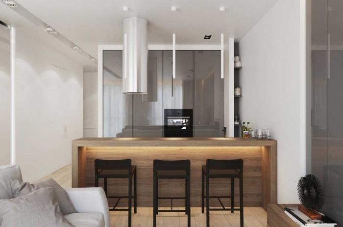 wohnzimmer einrichten farben, kleiner raum gestalten, kücheninsel mit beleuchtung, küchenideen