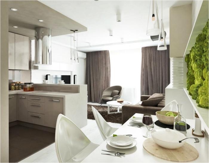 wohnzimmer einrichten farben, kleiner raum gestalten, wohnzimmergestaltung in weiß und braun