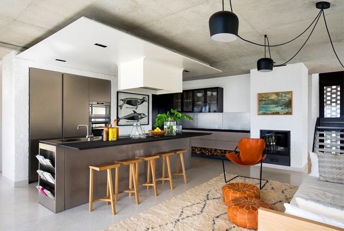 wohnzimmer einrichten farben, trendige kücheneinrichtung in braun und weiß, küchenideen