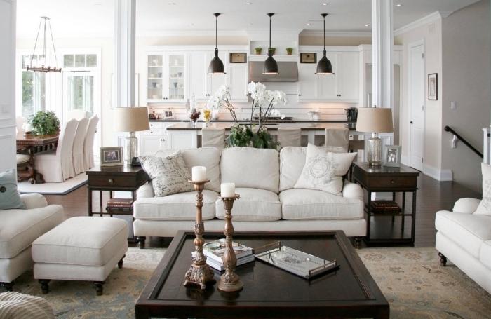 wohnzimmergestaltung in landhausstil, wohnzimmer einrichten farben, wohnzimmereinrichtung in weiß