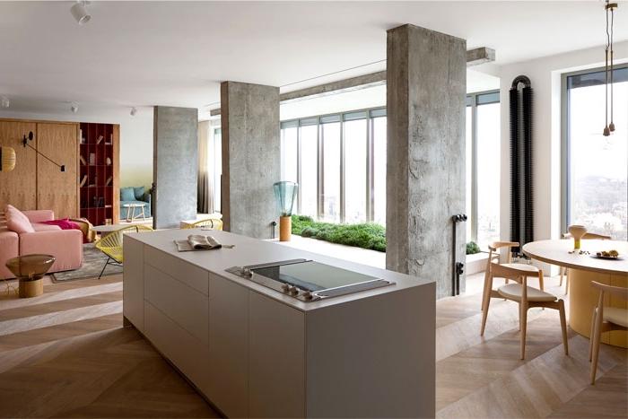 wohnzimmer gestalten tipps, küche einrichten, lange lücheninsel, wände in beton optik