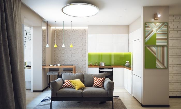 wohnzimmer ideen für kleine räume, designer möbel, kleines graues sofa, küchenschränke und weiß