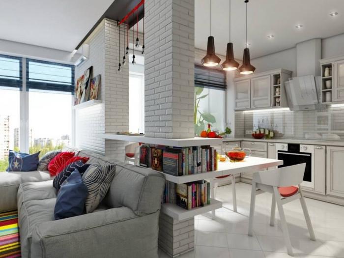 wohnzimmer ideen für kleine räume, weiße wände, bunte dekoartikel, wanddeko ziegel