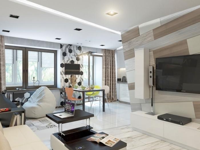 einrzimmerwohnung einrichten, wohnzimmer ideen für kleine räume, geometrische wanddeko