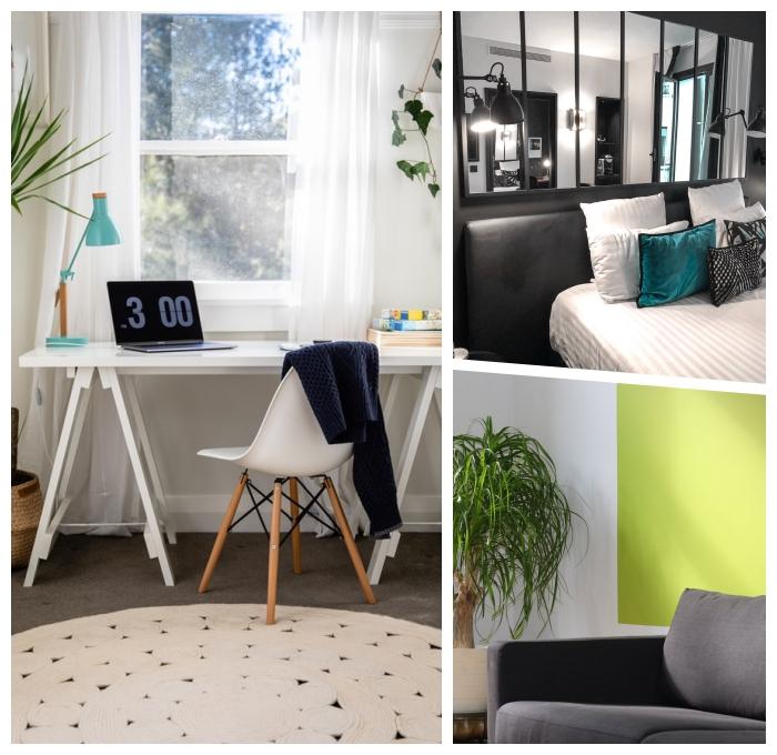 arbitszimmer und gästezimmer in einem raum, kleine wohnugn einrichten, einrichtungsideen