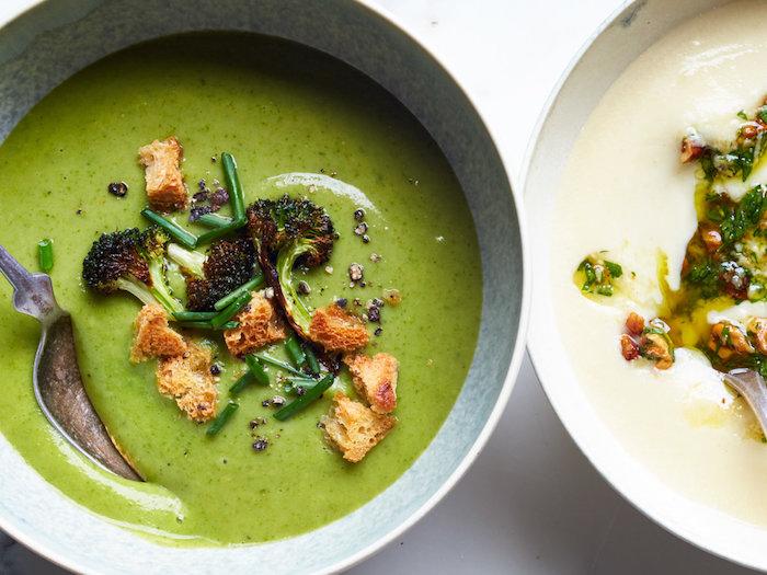 brokkoli suppe, cremesuppen die besten rezepte, vrokkolisuppe mit krotonen