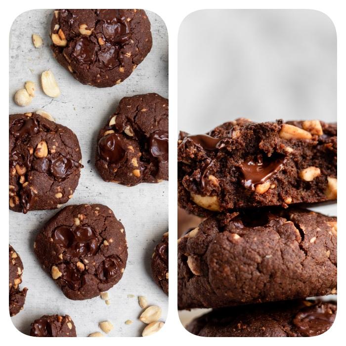 cookies ohne butter, gesunde kekse mit kakao und nüssen, schokokekse mit nutella