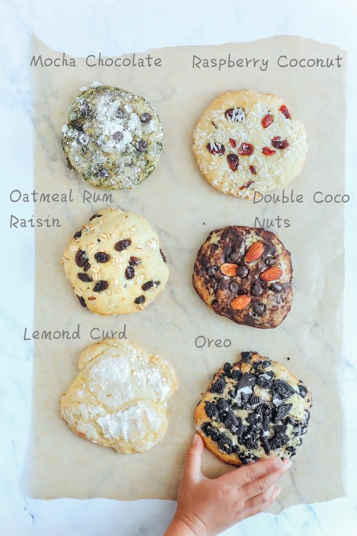 cookies ohne butter selber machen, verschiedene rezepte, große kekse mit verschiedenen zutaten