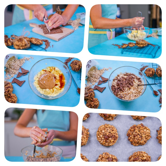 cookies rezept einfach uns schnell, keksen mit bananen, erdnussbutter, haferflocken und schokolade