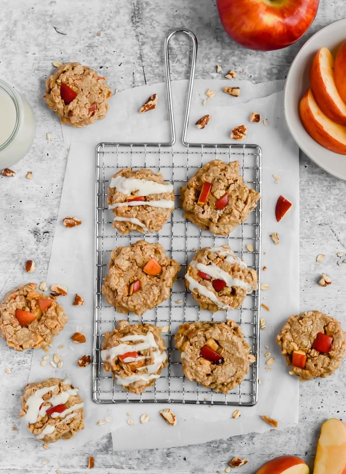 cookies selber machen, gesunde kekse mit äpfeln und nüssen, kekse mit hafeerflocken backen