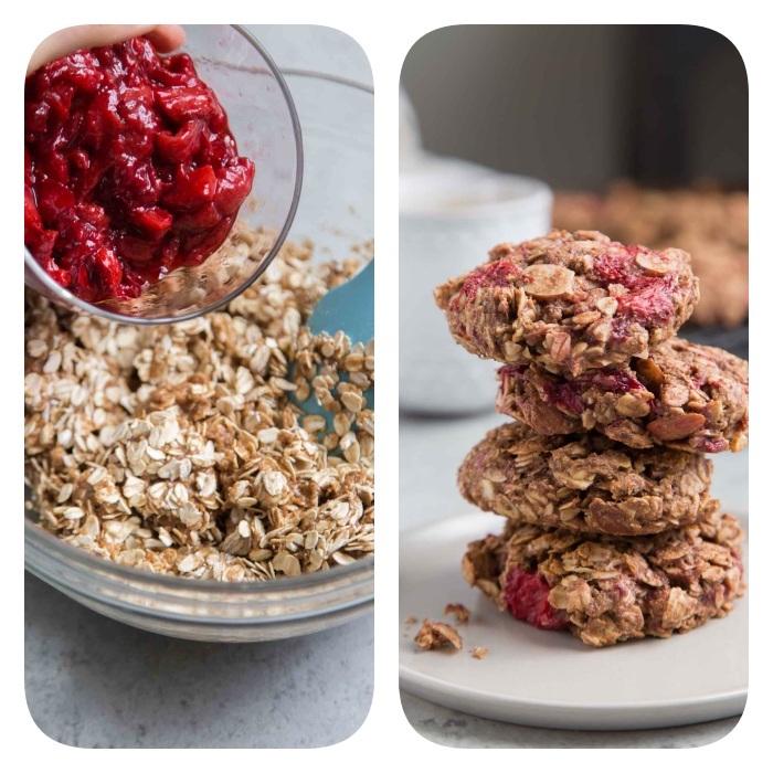 cookies selber machen, gesunde rezepte, leckerer nachtisch mit rahbarber und hferflocken