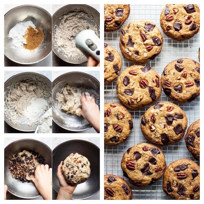 cookies selber machen, keksen mit pekannüssen, zimt und schokostückchen, keksenteig rezept