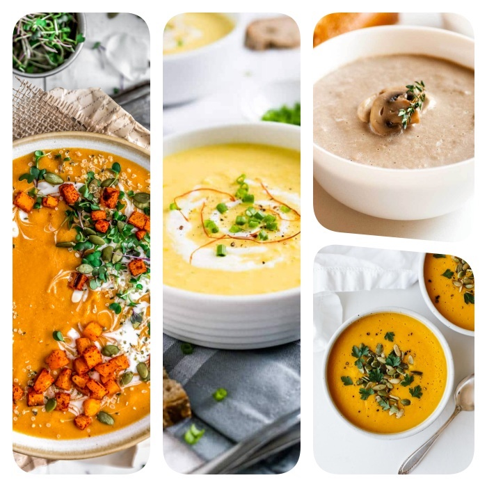 cremesuppen rezepte, mittagessen ideen einfach und schnell, gemüsesuppe mit kürbis, kprbissuppe