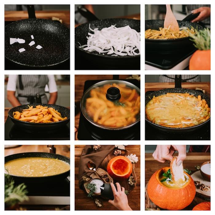 cremesuppen rezepte, schritt für schritt creme suppe zubereiten, gemüsesuppe mit butternusskürbis