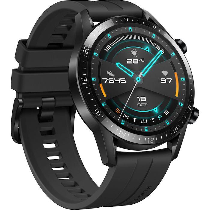 die schwarze smartwatch namens huawei watch gt 2, eine große schwarze armbanduhr