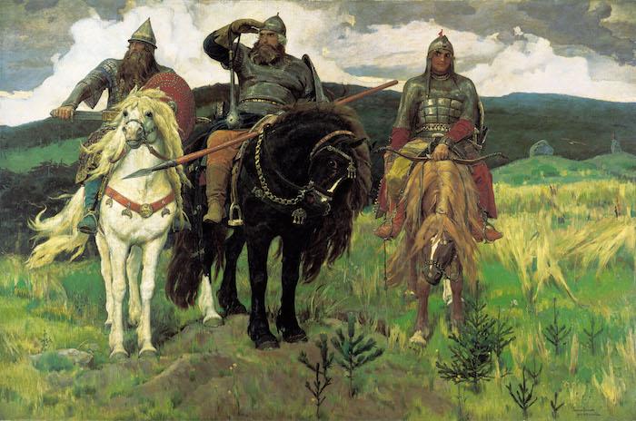the last khans, age of empires ii,drei männer mit prerden, drei bulgarische reiter, männer mit bärten, weißes pferd mit einer dichten mähne