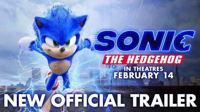 neuer trailer zu dem film sonic the hedgehog, ein kleiner blauer rennender igel mit grünen augen und eine stadt