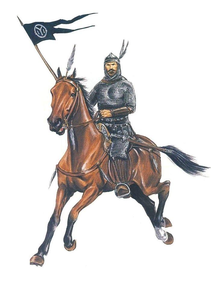 ein braunes pferd mit einer dichten schwarzen mähne, ein bulgarischer reiter mit einem schwert und fahne