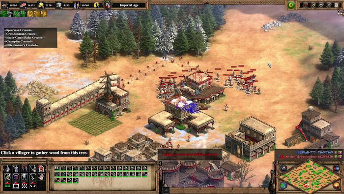 ein wald mit vielen grünen bäumen , burg und viele menschen, ein gameplay, das spiel age of emoires ii definitive edition