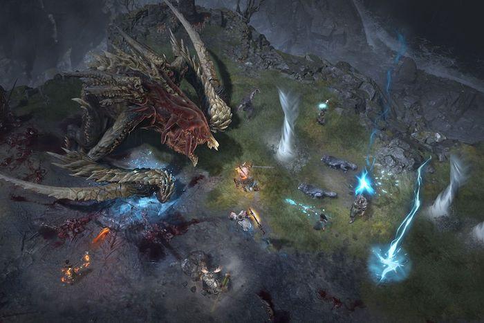 ein großes monster mit großen hörnern, zauberer, feuer und magie, ein gameplay und szene aus dem spiel