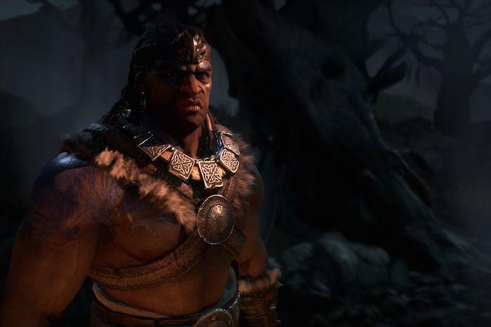 eine szene aus einem gameplay aus dem pc spiel diablo vier, ein mann mit vielen großen halsketten und ein großer schwarzer baum
