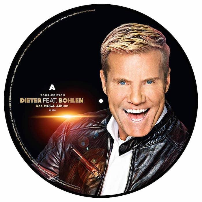 ein cd mit einem bild von dem sänger dieter bohlen, mann mit blondem haar und blauen augen und einer schwarzer ledderjacke, das album dieter deat bohlen