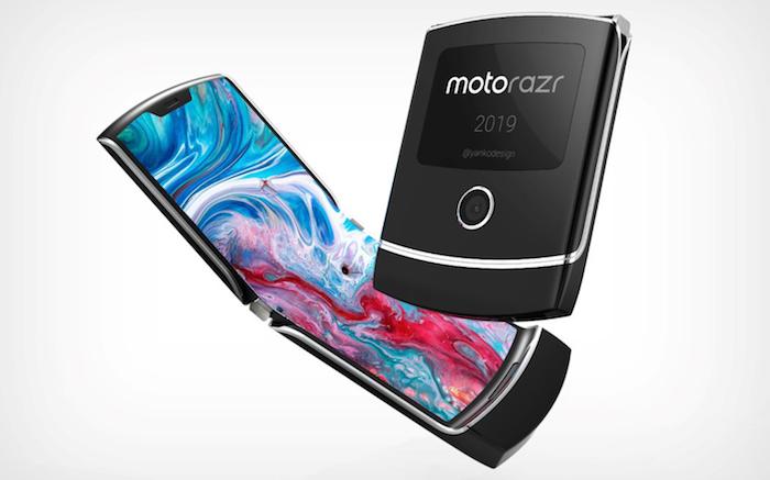 ein kleines schwarzes smartphome mit einem display auf der rückseite, das neue motorola razr mit einem großen bunten faltbaren bildschirm
