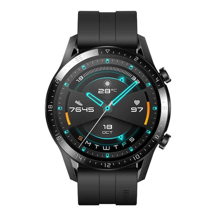 die neue smartwatch des chinesischen herstellers huawei, huawei watch gt2, eine schwarze armbanduhr