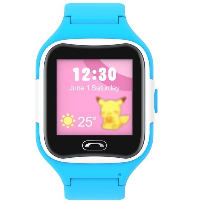 eine große blaue uhr für kinder, die Sma-Watch-M2 smartwatch mit einem blauen armband und mit einem rosafarbenen display