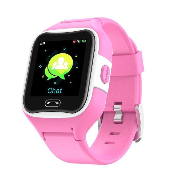 eine uhr mit einem schwarzen display und mit einem rosafarbenen armband, die smartwatch Sma-Watch-M2