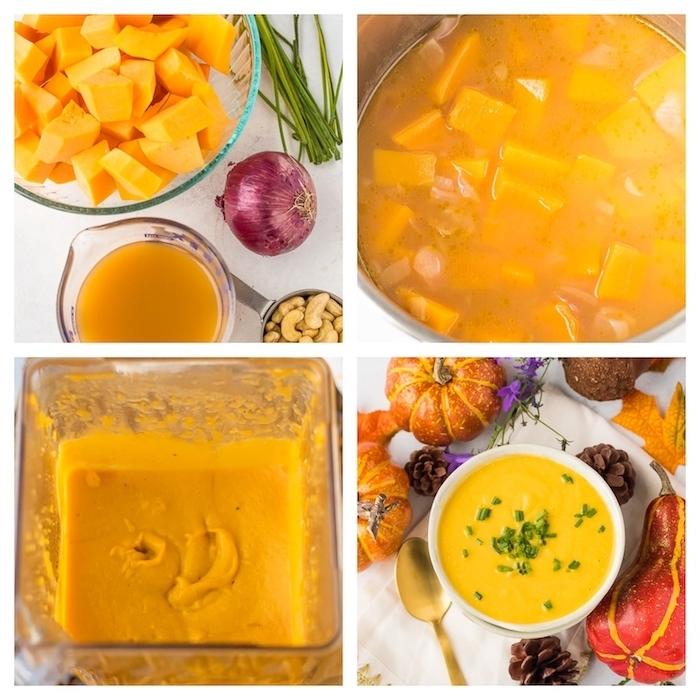 gemüsesuppe püriert, suppe mit butternusskürbis zubereitung, creme suppe mittagessen