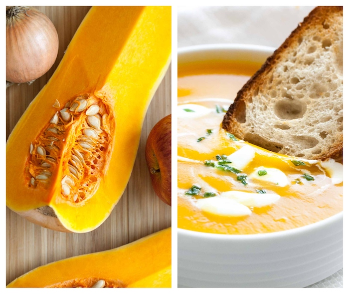 gemüsesuppe püriert, rezept für kürbissuppe, kürbis schneiden, creme suppe